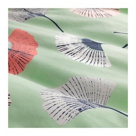 Пододеяльник и 2 наволочки ТОВСИППА зеленый, с цветочным орнаментом фото 1